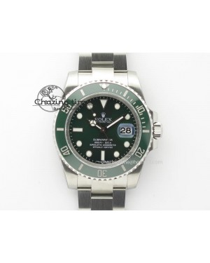 2016 Submariner 116610 LV Green Ceramic V6s Noob Best Edition On SS Bracelet SA3135