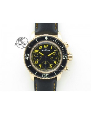 Fifty Fathoms Chronograph RG Black Dial On Black Leather Strap A7750