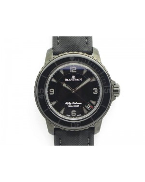 Fifty Fathoms PVD Dark Knight ZF 1:1 Best Edition Black Dial On Sail-canvas Strap A1315