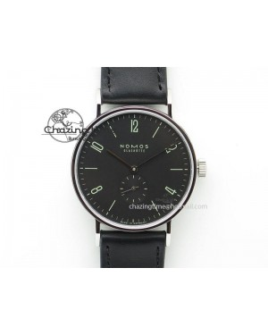 Tangente SS Black Dial On Black Leather Strap A2813