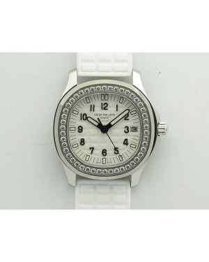 Aquanaut Jumbo 5069G SS Best Edition White Dial On White Rubber Strap Asian PP324CS(Free Box)