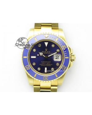 Submariner Full Gold Blue Dial Diamond BP Best Edition Swiss ETA2836
