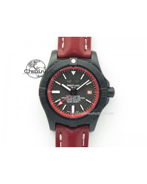 Avenger GMT DLC Black Stick Marker Textured Dial Red Inner Bezel On Leather Strap A2836