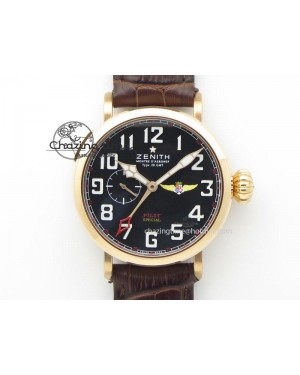 Pilot Type 20 Extra Special RG 47mm Black Dial Camouflage Markers On Brown Asso Strap A23J