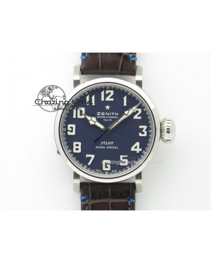 Pilot Type 20 Extra Special V6F 1:1 Best Edition SS 45mm Blue Dial On Brown Leather Strap A2824