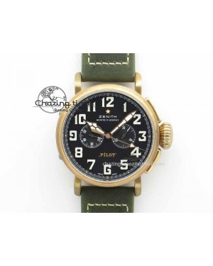 Pilot Type 20 Chrono Extra Special XF 1:1 Best Edition Real Bronze Case On Green Nubuck Strap A7750