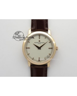 VC RG UT Best Edition White Dial Diamond Markers On Brown Leather Strap