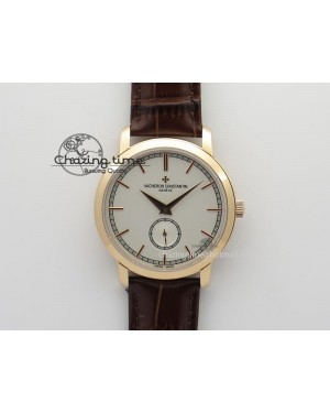VC Sec@6 RG UT Best Edition White Dial Stick Markers On Brown Leather Strap