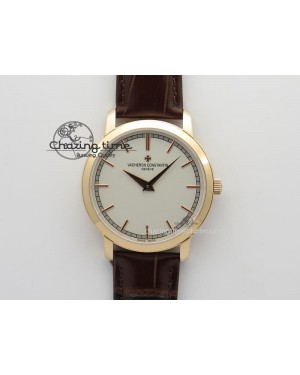 VC RG UT Best Edition White Dial Sticks Markers On Brown Leather Strap