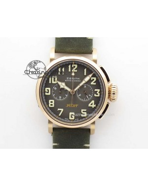 Heritage Pilot Ton-Up RG Case Gray Dial On Green Leather Strap Jap Quartz