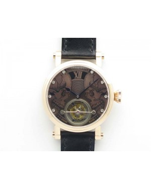 Speake Marin RG Case Rose Gold Dial On Black Leather Strap Asian EQ Tourbillon (Free Leather Strap)