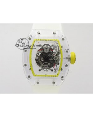 RM056 RMF Yellow Inner Bezel Skeleton Dial On Transparent Rubber Strap MIYOTA9015