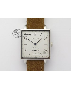 Tetra SS White Dial On Brown Leather Strap A2813