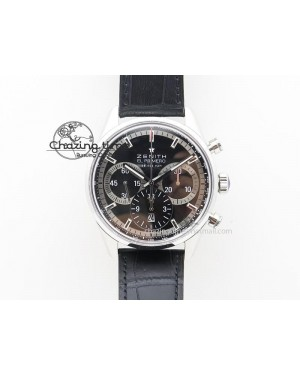 El Primero Chrono SS AXF Black Dial on Black Leather Strap A7750