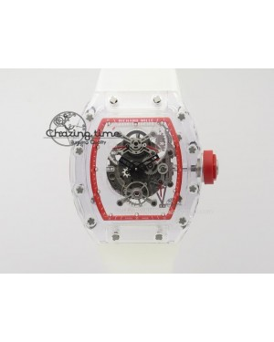 RM056 RMF Red Inner Bezel Skeleton Dial On Transparent Rubber Strap MIYOTA9015