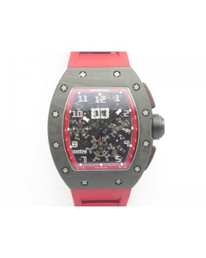 RM011 NTPT Carbon Chrono KVF 1:1 Best Edition Crystal Skeleton Dial Red Inner Bezel On Red Rubber Strap A7750