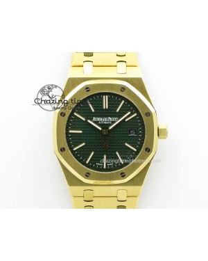 Royal Oak 39mm 15202 YG Green Dial On YG Bracelet MIYOTA9015