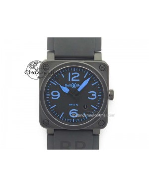 BR 03-92 PVD Case Black Dial Blue Number 42.5mm On Rubber Strap MIYOTA 9015 V2