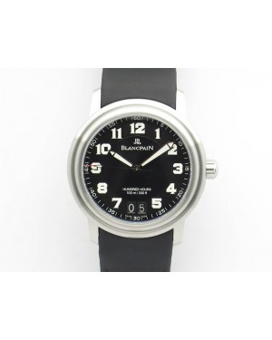 LEMAN 2850B SS 1:1 Best Edition Black Dial Numeral Markers On Black Rubber Strap Cal.6950