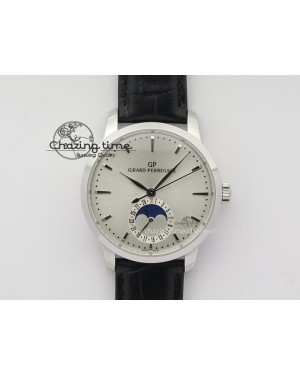 GP Moonphase SS Silver Dial On Black Leather Strap On Cal.GP033MO