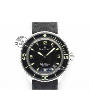 Fifty Fathoms SS Black ZF 1:1 Best Edition Black Dial On Sail Canvas Strap A2836 (Free Extra Strap)
