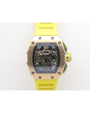 RM011 RG Chronograph SS Case KVF 1:1 Best Edition Crystal Skeleton Dial On Yellow Rubber Strap A7750
