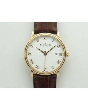 Villeret 6651 RG ZF 1:1 Best Edition White Dial On Brown Leather Strap A1151