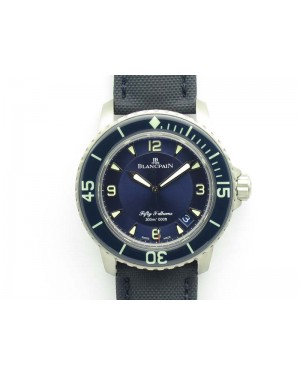 Fifty Fathoms Titanium Blue ZF 1:1 Best Edition Blue Dial On Canvas Strap A2836 (Free Tool )