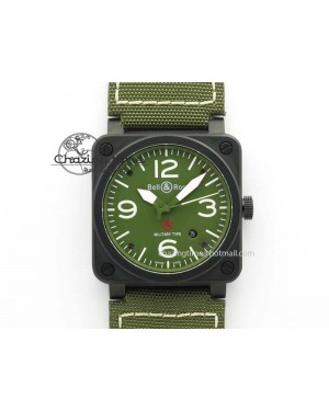 BR 03-92 PVD Case V2 42.5mm Green Dial On Canvas Strap MIYOTA 9015