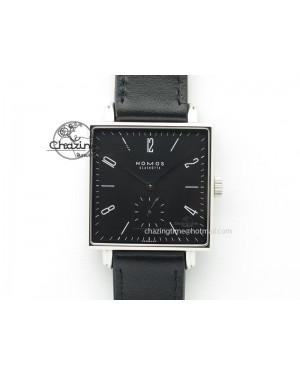 Tetra SS Black Dial On Black Leather Strap A2813