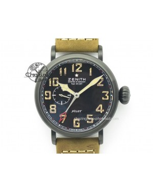 Pilot Type 20 Extra Special PVD 47mm Black Dial Camouflage Markers On Brown Asso Strap A23J