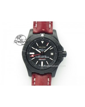 Avenger GMT DLC Black Stick Marker Textured Dial Black Inner Bezel On Leather Strap A2836