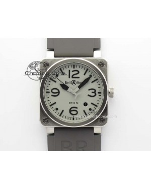 BR 03-92 SS 42MM Gray Dial On Gray Rubber Strap MIYOTA 9015