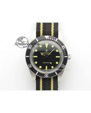 Vintage 1680 Submariner No Date SS Black Dial On Nylon Strap A2836