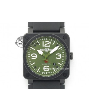 BR 03-92 42mm Military Type 1:1 Best Edition On Black Rubber Strap Miyota 9015