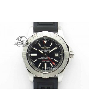 Avenger GMT SS GF 1:1 Best Edition Black Sticks Marker Dial On Rubber Strap A2836