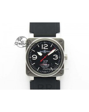 BR 03-92 SS Black Dial 30 LTD 42MM On Black Rubber Strap MIYOTA 9015