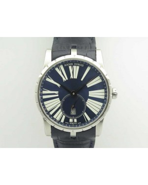 Excalibur Dbex0535 SS RDF 1:1 Best Edition Blue Dial On Leather Strap Asian RD830