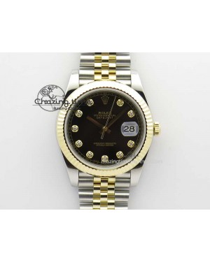 DateJust 41 126333 Noob 1:1 Best Edition YG Wrapped Black Dial Diam On SS/YG Bracelet A3235