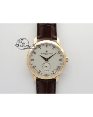VC Sec@6 RG UT Best Edition White Dial Diamond Markers On Brown Leather Strap