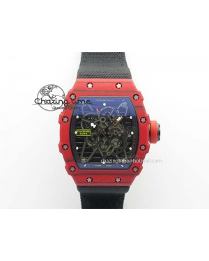 RM 035-2 Red Carbon Black Inner Bezel Skeleton Dial On Black Nylon Strap MIYOTA9015