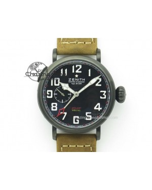 Pilot Type 20 Extra Special PVD 47mm Black Dial On Brown Asso Strap A23J