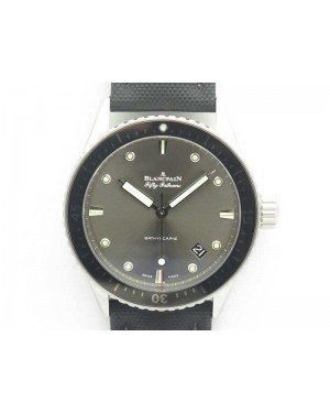 Fifty Fathoms Bathyscaphe 43mm SS ZF 1:1 Best Edition Gray Dial On Sail-Canvas Strap A1315