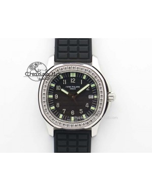 Aquanaut SS 35mm Best Editon Black Dial Diamond Bezel on Black Rubber Strap Ronda Quartz