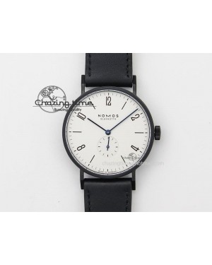 Tangente DLC Case White Dial On Black Leather Strap A2813