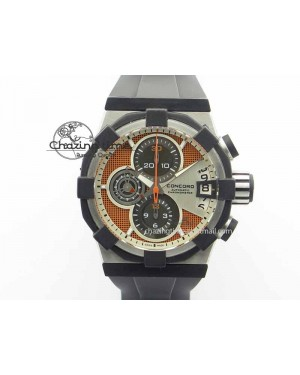 C1 Chronograph SS H-Maker Red CF Dial On Black Rubber Strap A7750