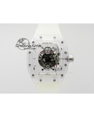 RM056 RMF White Inner Bezel Skeleton Dial On Transparent Rubber Strap MIYOTA9015