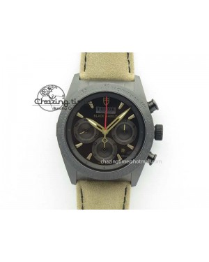 Black Shield Ceramic ZF 1:1 Best Edition Black Dial On Brown Leather Strap A7753