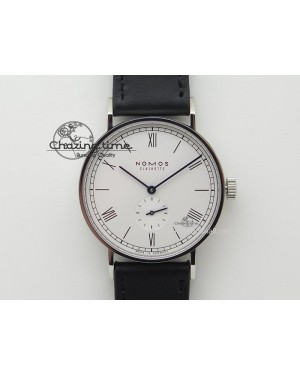 Ludwig 38 Roman White Dial On Black Leather Strap A2813
