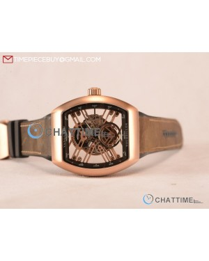 Vanguard Miyota Automatic Copy Tourbillon Rose Gold Case With Skeleton Dial Leather/Rubber Strap